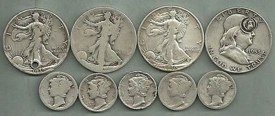 $2.50 Face Value Mixed CULLS - 90% Silver - US Coin Lot - 9 Coins