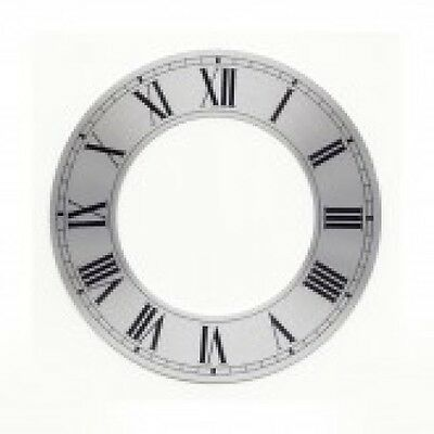 Silver Chapter Ring Clock Face Or Dial 130Mm Dia Roman Black Numerals Cr5S