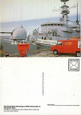 1982 Delivering Mail To Hms Ambuscade At Plymouth Dock Swpr 17 Mint Postcard