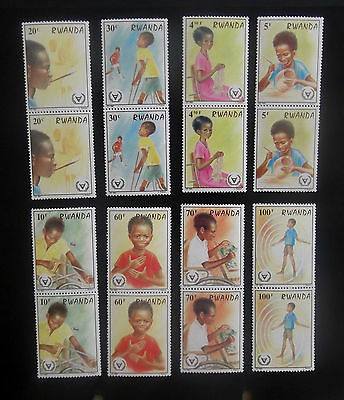 Rwanda-1981-Year of the Disabled-Set of 8 Joined pairs-MNH