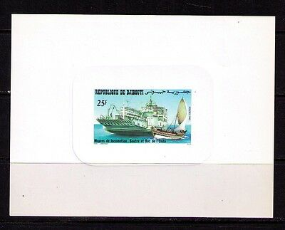 DJIBOUTI Sc# 549 var. MNH FVF Deluxe Proof Card Dhow Ferry