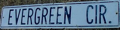 """Vintage TIN STREET SIGN White Washed Chippy Black Letters EVERGREEN CR. 30"""" x 6"""""""