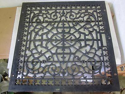 "Antique Large Floor Cold Air 24"" x 24 "" Furnace Cast Iron Register Heat Grate"