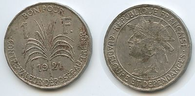 G2643 - Guadeloupe 1 Franc 1921 KM#46 SEHR RAR French Colony