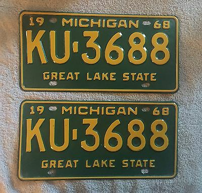 Vintage Pair 1968 Michigan License Plates Lot Of 2 FREE SHIPPING