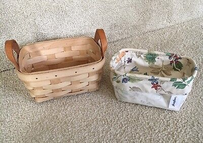 Longaberger 1999 Tea/small Basket With Leather Handles & Liner Light Wood