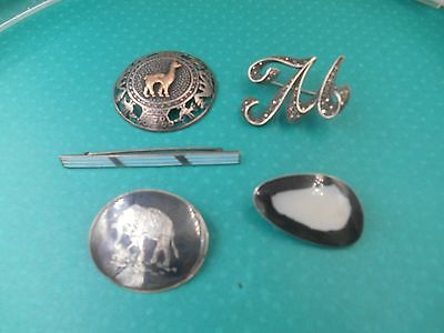 lot intersting older sterling silver pins art deco enamel gold and silver