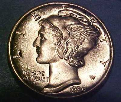 1936-P Mercury Dime ~Blast White ~Gem Uncirculated ~Full Rounded Split Bands**