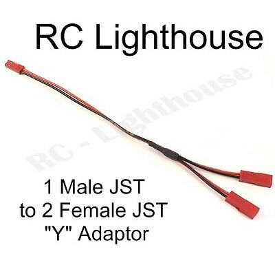 "JST splitter "" Y "" connector harness.  One male to 2 female JST plugs"