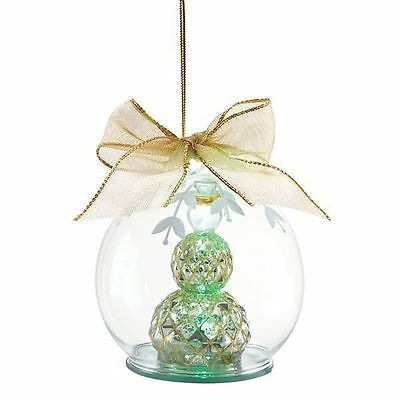 "Lenox ~ Mercury Glass Wonder Ball Snowman Lit Christmas Ornament 4.75"" ~ NIB"