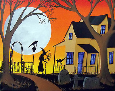 ORIGINAL painting folk art Halloween black cat witch crow gothic Christmas gift