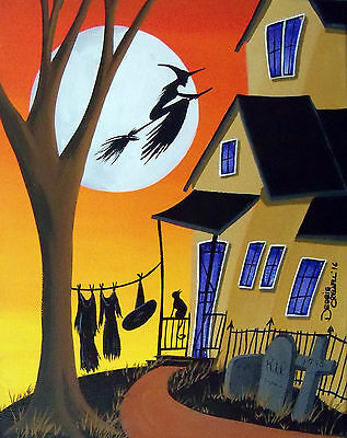 ORIGINAL painting folk art witch black cat Halloween Christmas gift gothic dark