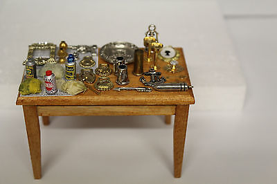 DOLLS HOUSE = Handcrafted  Kitchen Laden Table = Brass & Silver Cleaning