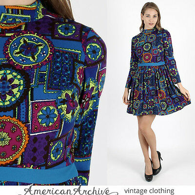 Vintage 60s Mod Disco Dress Bright Psychedelic Floral Cocktail Party Draped Mini
