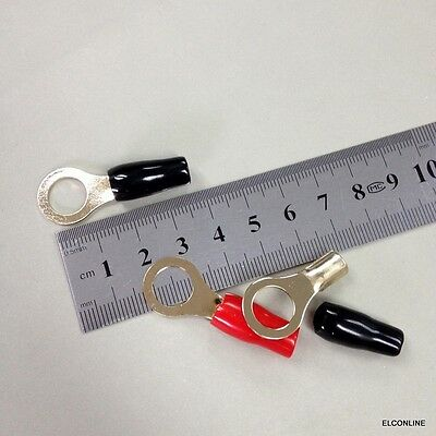 """10 x GR8-10 Insulated Brass Ring Terminal Wire AWG 8 Ga / Stud 3/8"""" 10mm  #BK1"""