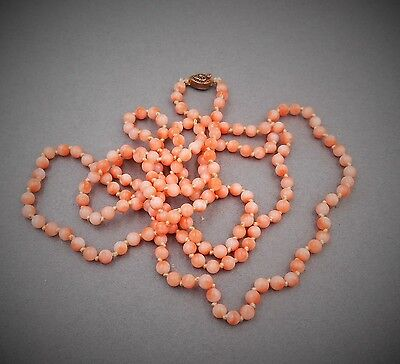 San Francisco Estate lovely Antique coral bead necklace sterling filligree clasp