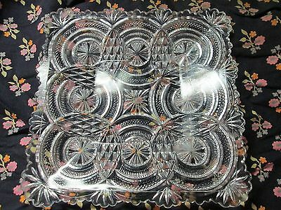 """Vintage Clear Glass Candy Dish Tray Square 7"""" X 7"""""""