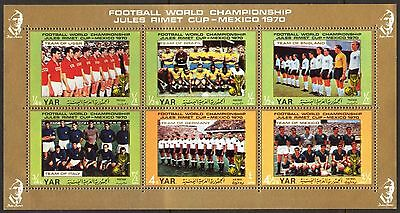 Yemen 1970 Football Soccer World Cup Mexico Sheet of 6 MNH** Mi.:1145/50 8,50Eur