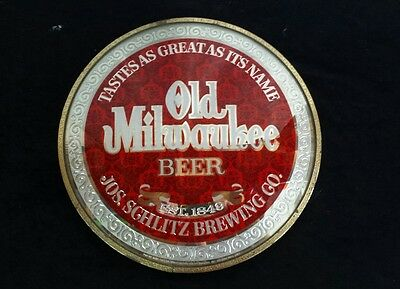 Vintage 1973 Old Milwaukee Beer Advertising Display Sign ~ Bowed Glass Face ~