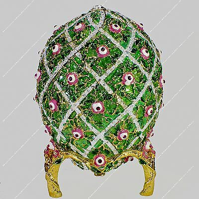 3.8'' Easter Enameled Egg Trinket Box Rose Trellis Russian Traditions Of Faberge
