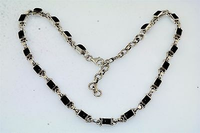Black Onyx Cab Choker Sterling Silver Necklace