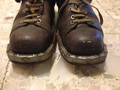 Vintage Pair of Weron Brown Leather Ski Boots Steampunk original chippewa shoes