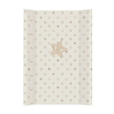 BABY COT CHANGING MAT PADDED HARD BASE 70X50cm With Scale - Beige Stars