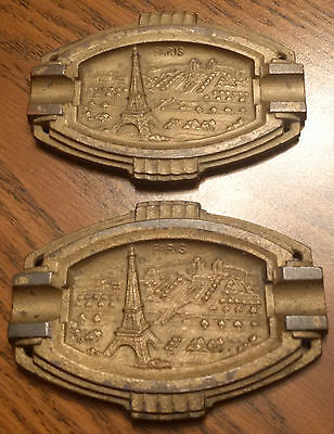2 Vintage Old Rare Metal Collectible Paris City Image Beautiful Ashtrays