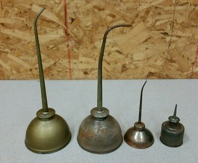 Vintage lot of 4 Thumb Pump Oil Cans, Eagle & Unmarked