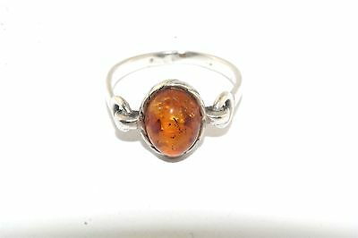 Amber Cab Sterling Silver Ring