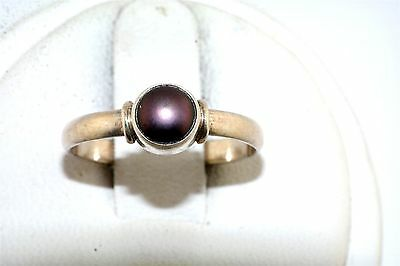 Grey Pearl Sterling Silver Ring
