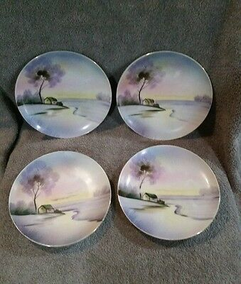 4 Vintage  MEITO CHINA HAND PAINTED PLATE MADE IN JAPAN