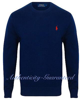 Ralph Lauren Polo Men's Crew Neck Cotton Knit Jumper Navy Grey Cream RRP £110