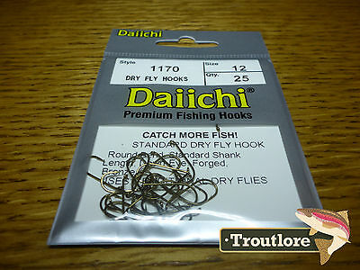 25 x DAIICHI 1170 #12 STANDARD DRY FLY HOOK LOW PROFILE BARB NEW FLY TYING HOOKS