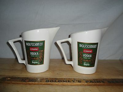 2 Vintage Seagram Promo Pitchers - Ceramic - WOLFSCHMIDT VODKA - USA