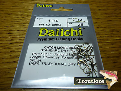 25 x DAIICHI 1170 #14 STANDARD DRY FLY HOOK LOW PROFILE BARB NEW FLY TYING HOOKS