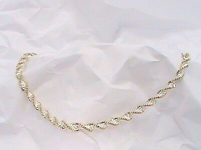 14K Italy White Yellow Gold on .925 Twisted Cuban Link Anklet Ankle Bracelet 9""
