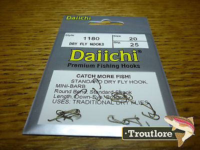 25 x DAIICHI 1180 #20 STANDARD DRY FLY HOOK MINI BARB NEW FLY TYING HOOKS