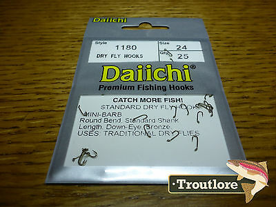 25 x DAIICHI 1180 #24 STANDARD DRY FLY HOOK MINI BARB NEW FLY TYING HOOKS