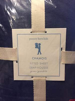 NIP Pottery Barn PB Kids Navy Blue CHAMOIS Fitted Bed Sheet QUEEN