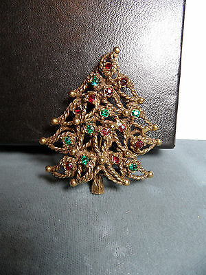 VINTAGE  Jeanne RHINESTONE  christmas tree pin brooch