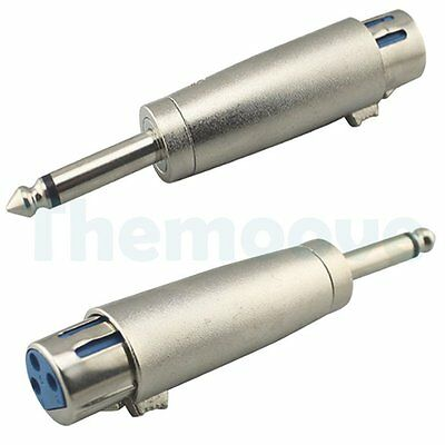 """2x XLR Female Plug To 1/4"""" 6.35mm Male Mono Jack Microphone Cable Audio Adapter"""