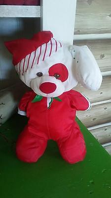Vtg Puffalump Christmas Red Baby Puppy Dog Plush FISHER PRICE Parachute 1991