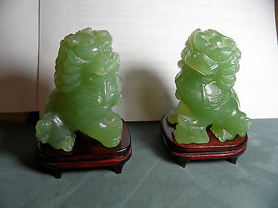 Fine Pair Of Hand Carved Chinese Beijing Foo Dog Lion Figures Statues