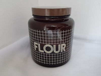 Vintage Retro 80s Brown Glass Flour Canister Jar English Kitchenalia