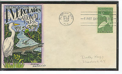 Scott 952 Everglades Florida Dorothy Knapp Hand Painted First Day Cover Revised