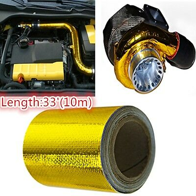 """Gold High Temperature Heat Shield Wrap Tape 2""""x15"""" Roll Self Adhesive Reflective"""
