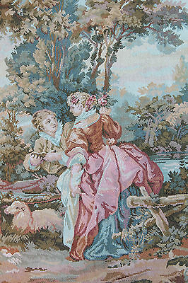 Superb French Vintage Hanging Tapestry Panel Romantic Couple Scenery