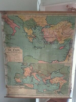 Vintage George Phillip & Son Vintage Roll Up Map-Journey of St Paul/Roman Empire
