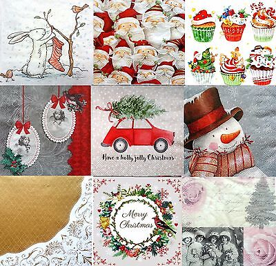 Pack of 20  Lunch Table  Paper Napkins Party Decoupage Christmas Xmas Mix 2